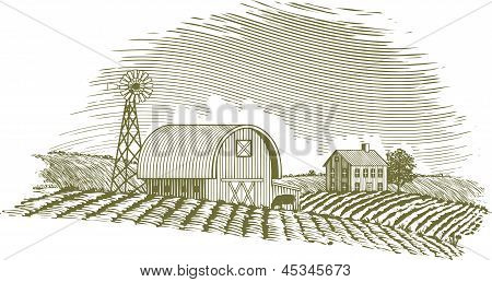 Woodcut Barn And Windmill