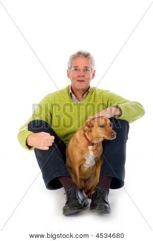 Elderly Man With Dog