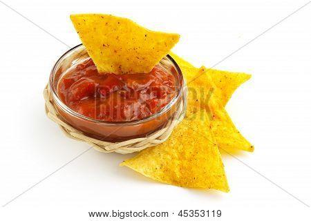 hot sauce with nachos