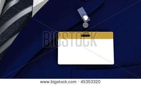 Colored blank badge with copyspace on a business man suit