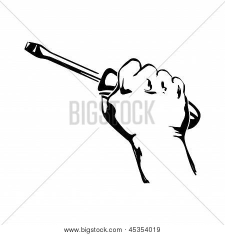 hand holding screwdriver illustration