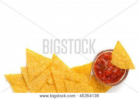 Tortilha de batatas e molho de tomate picante