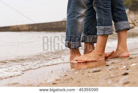 Closeup Image Barefoot Couple Legs