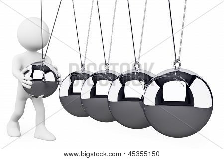 3D White People. Newton's Cradle