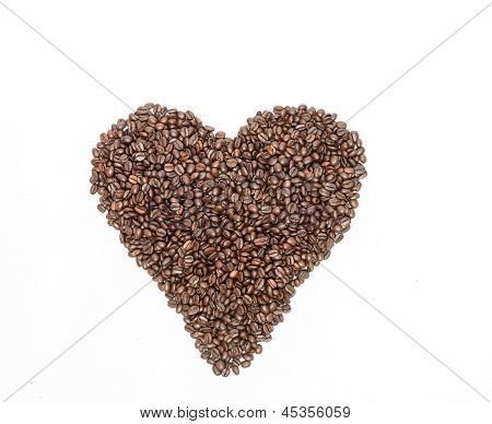 Heart shape of coffee bean