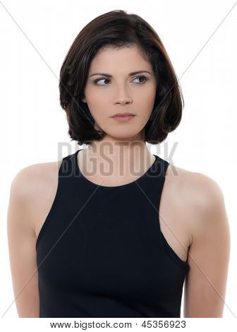 one beautiful suspicious caucasian woman portrait in studio isolated on white background