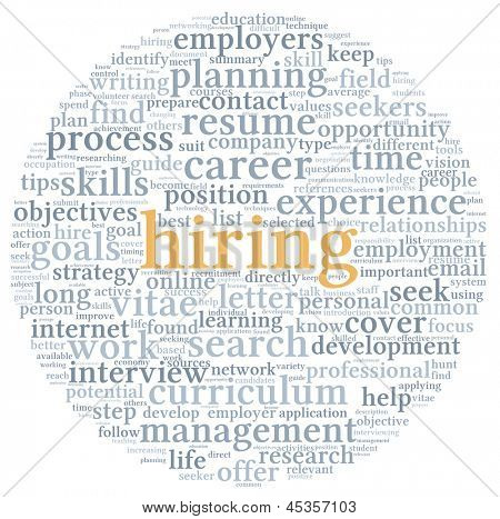 Hiring and job search concept in word tag cloud on white background
