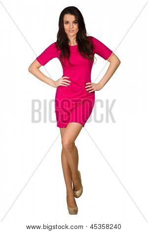 Elegance girl in pink dress on white