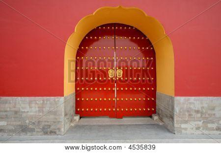 Door At Temple Of Heaven Park. Beijing. China.