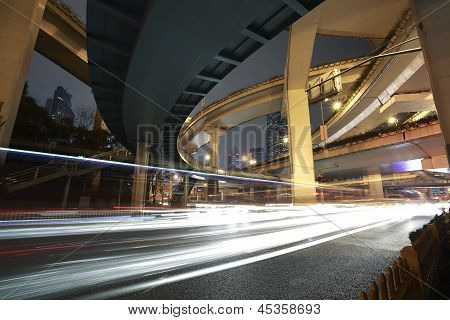 Shanghai High-speed Urban Viaduct Construction Background At Night