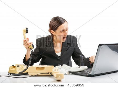 Business Woman In A Nervous, Stressed State