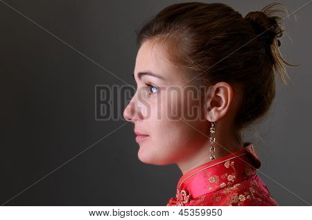 Caucasian Girl In The Chinese Dress