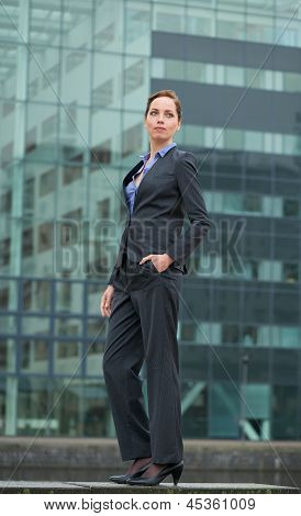 Business Woman Standing Outside The Office