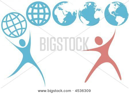 Swoosh People Hold Up Planet Earth Globe Symbols
