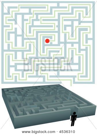 Symbol Man With Plan For Solution Of Maze Puzzle