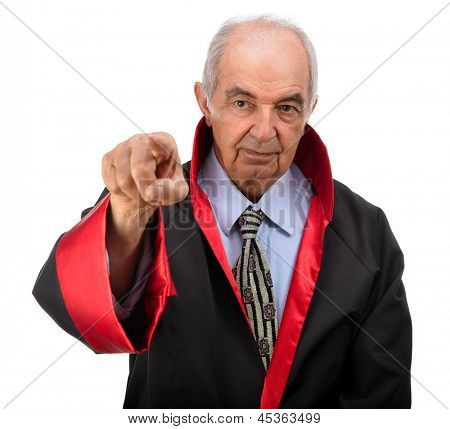 Senior judge pointing out space for your text isolated on white background