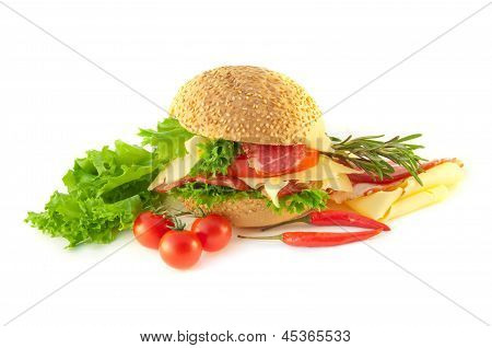 Meat cheese tomatoes and salad for sandwich