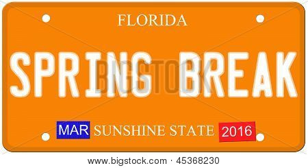 Spring Break Florida License Plate