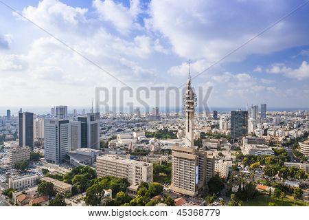 Tel Aviv  Skyline at Sunny Day