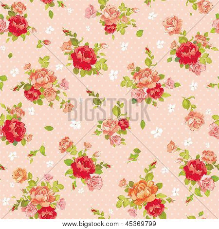 Rose vintage seamless pattern on light design background, vector illustration
