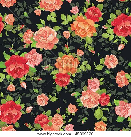 Elegance tiny rose�s seamless background, vintage vector illustration