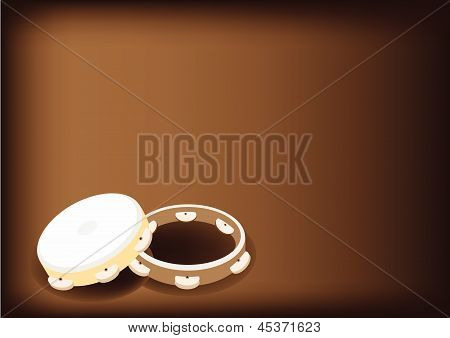 Beautiful Three Tambourine On Dark Brown Background