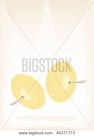 A Beautiful Cymbal On Brown Stage Background
