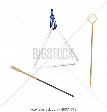 A Musical Triangle Isolated On White Background