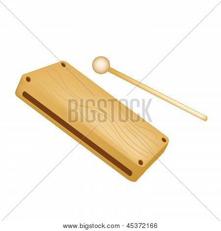 A Musical Wood Block Isolated On White Background
