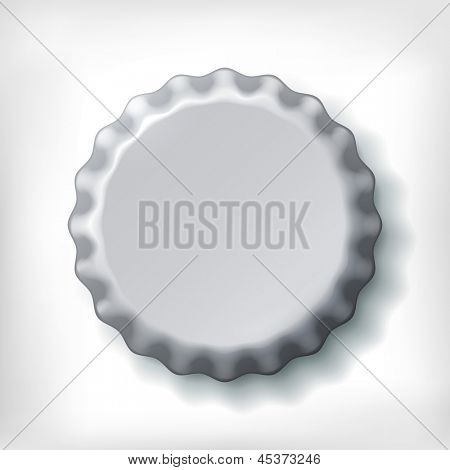 Metallic bottle cap on white background
