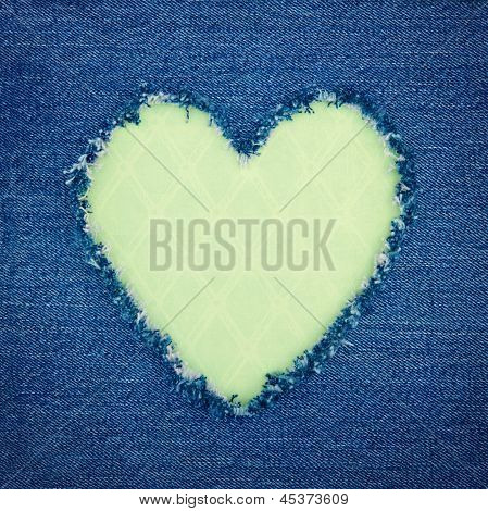 Green Vintage Heart On Blue Denim Fabric