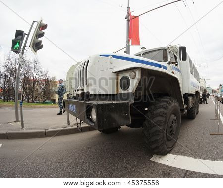 MOSCOW - MAY 6: Police truck stands in the center of city near the protest manifestation of opposition, Volhonka str.  in Moscow, Russia on May, 6, 2013