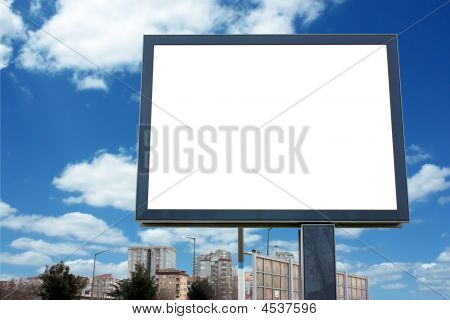 Blank Billboard With Sky - Including Clipping Path Around Blank Area.