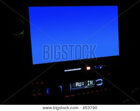 In-dash Lcd Screen Close-up W/clipping Path