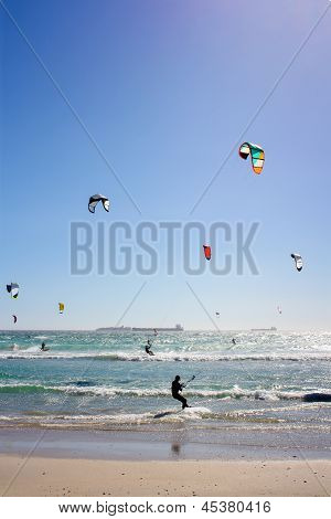Many Kiteboarders In Water