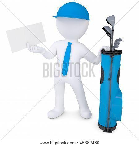 3d white man holding a cardboard card