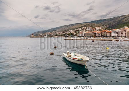 Boat And Coastline Of Town Senj Near Istria, Croatia