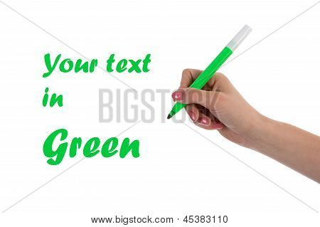 Hand Writing With Green Pencil Isolated On White Background