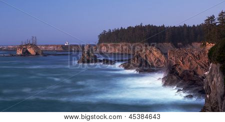 Oregon Coast near Coos Bay - Cape Arago Lighthouse - long exposure at twilight