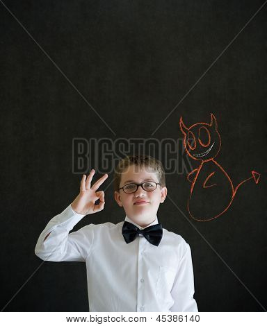 All Ok Boy Business Man With Chalk Devil On Shoulder