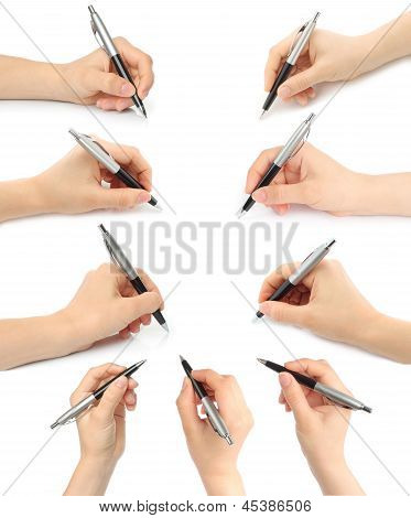 Collage of hands with pens