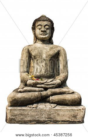 Isolated - Buddha Statue , Old Chedi In Wat  Phra That Hariphunchai