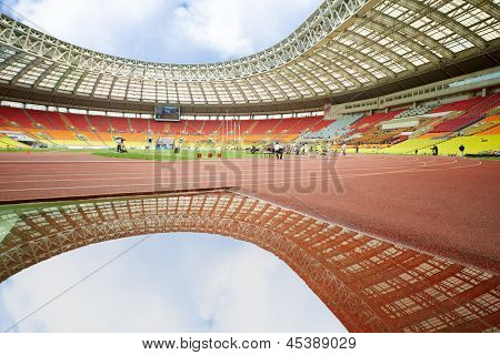 MOSCOW - JUN 11: Pit of water on track for steeplechase at Grand Sports Arena of Luzhniki OC at international athletics competitions IAAF World Challenge Moscow Challenge, Jun 11, 2012, Moscow Russia.