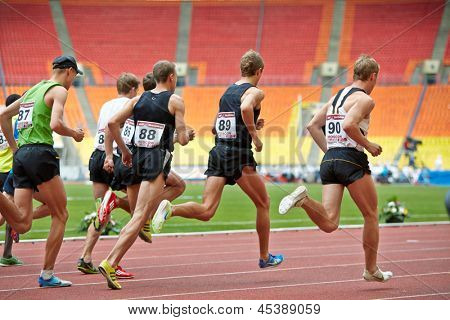 MOSCOW - JUN 11: Men race at Grand Sports Arena of Luzhniki OC during International athletics competitions IAAF World Challenge Moscow Challenge, June 11, 2012, Moscow, Russia.
