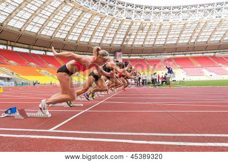 MOSCOW - JUN 11: Athletes start the race on International athletic competition Moscow Challenge on June 11, 2012 in Luzhniki, Moscow, Russia