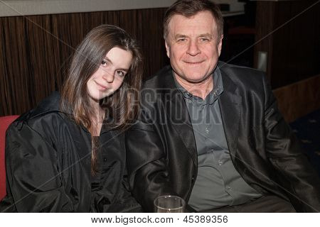 MOSCOW - MAR 28: Russian composer Gennady Gladkov and his daughter in club Metropolis on March 3, 2012 in Moscow, Russia.