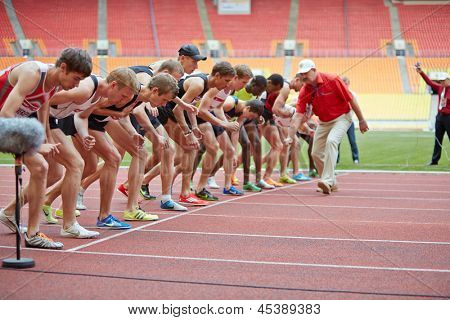 MOSCOW - JUN 11: Participants of race before start at Grand Sports Arena of Luzhniki OC during International athletics competitions IAAF World Challenge Moscow Challenge, Jun 11, 2012, Moscow, Russia.
