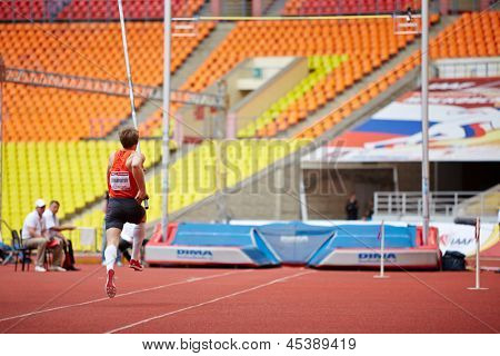 MOSCOW - JUN 11: Pole-vaulter D.Starodubtsev at Grand Sports Arena of Luzhniki OC during International athletics competitions IAAF World Challenge Moscow Challenge, June 11, 2012, Moscow, Russia.
