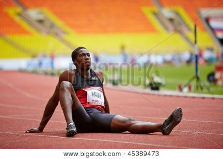 MOSCOW - JUN 11: Christian Malcolm (UK) at Grand Sports Arena of Luzhniki Olympic Complex during International athletics competitions IAAF World Challenge Moscow Challenge, Jun 11 2012, Moscow Russia.