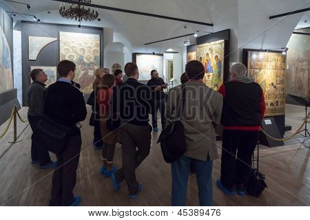 MOSCOW - MAR 30: People on meeting of New Skiffs at the Museum of Andrei Rublev on March 30, 2012 in Moscow, Russia.